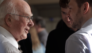 Discussions of the HiggsHunters team with Prof Peter Higgs at the schools launch in Edinburgh
